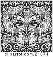 Clipart Picture Illustration Of Elegant Vines Forming A Heart In Black And White