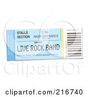 Royalty Free RF Clipart Illustration Of A Live Rock Band Concert Ticket by michaeltravers