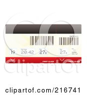 Royalty Free RF Clipart Illustration Of A First Class Plane Ticket With Barcodes