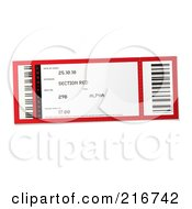 Royalty Free RF Clipart Illustration Of A Red And White Concert Ticket Stub by michaeltravers