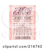 Royalty Free RF Clipart Illustration Of A Pink Mega Loto Ticket Stub by michaeltravers