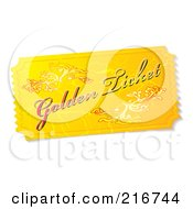 Royalty Free RF Clipart Illustration Of A Golden Ticket Stub by michaeltravers