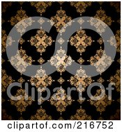Royalty Free RF Clipart Illustration Of A Seamless Background Of A Golden Floral Pattern On Black by michaeltravers