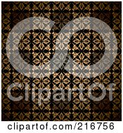 Royalty Free RF Clipart Illustration Of A Seamless Background Of Golden Victorian Styled Squares by michaeltravers