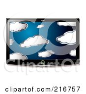 Royalty Free RF Clipart Illustration Of A Wall Mounted LCD Tv With A Cloud Display by michaeltravers