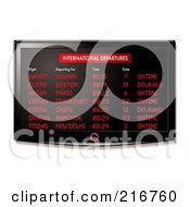 Royalty Free RF Clipart Illustration Of A Wall Mounted Lcd Tv With Airport Departure Information by michaeltravers