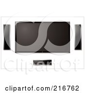 Royalty Free RF Clipart Illustration Of A Wall Mounted Lcd Tv With Surround Sound Speakers by michaeltravers