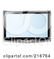 Royalty Free RF Clipart Illustration Of A Wall Mounted Lcd Tv With A Blue Display by michaeltravers