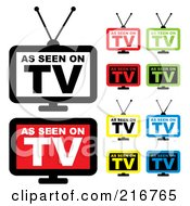 Royalty Free RF Clipart Illustration Of A Digital Collage Of Colorful As Seen On TV Icons by michaeltravers #COLLC216765-0111