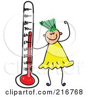 Royalty Free RF Clipart Illustration Of A Childs Sketch Of A Girl With A Thermometer