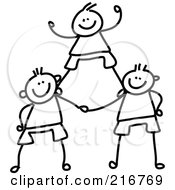 Royalty Free RF Clipart Illustration Of A Childs Sketch Of Black And White Boys In A Pyramid by Prawny