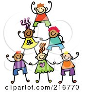 Royalty Free RF Clipart Illustration Of A Childs Sketch Of Human Pyramid Of Kids 1 by Prawny #COLLC216770-0089