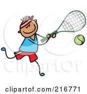 Royalty Free RF Clipart Illustration Of A Childs Sketch Of A Boy Playing Tennis