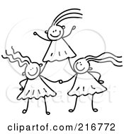 Royalty Free RF Clipart Illustration Of A Childs Sketch Of Black And White Girls Forming A Pyramid