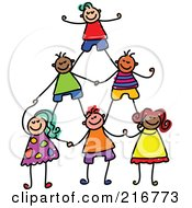 Royalty Free RF Clipart Illustration Of A Childs Sketch Of Human Pyramid Of Kids 2