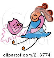 Royalty Free RF Clipart Illustration Of A Childs Sketch Of A Girl Using A Pink Phone