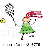 Royalty Free RF Clipart Illustration Of A Childs Sketch Of A Girl Playing Tennis
