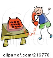 Royalty Free RF Clipart Illustration Of A Childs Sketch Of A Boy Using A Phone