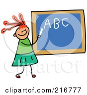 Royalty Free RF Clipart Illustration Of A Childs Sketch Of A Girl Writing Her Abcs On A Chalk Board by Prawny