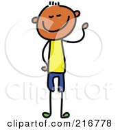 Royalty Free RF Clipart Illustration Of A Childs Sketch Of A Skinny Boy