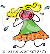 Royalty Free RF Clipart Illustration Of A Childs Sketch Of A Girl Crying