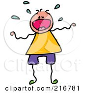 Royalty Free RF Clipart Illustration Of A Childs Sketch Of A Boy Crying