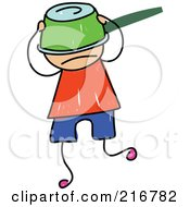 Royalty Free RF Clipart Illustration Of A Childs Sketch Of A Boy With A Pot On His Head