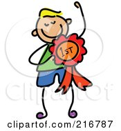 Royalty Free RF Clipart Illustration Of A Childs Sketch Of A Boy With A First Place Ribbon