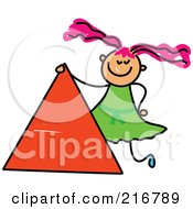 Royalty Free RF Clipart Illustration Of A Childs Sketch Of A Girl By A Triangle