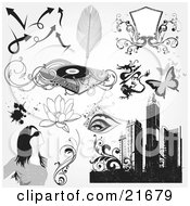 Clipart Picture Illustration Of A Collection Of Arrows Feathers Blank Shield Record Player Dragon Butterflies Eyes Lotus Flowers Splatters Woman Vines And Skyscrapers by OnFocusMedia