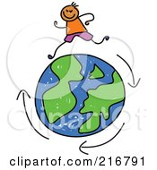 Royalty Free RF Clipart Illustration Of A Childs Sketch Of A Boy Running Around A Globe