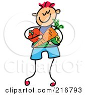 Royalty Free RF Clipart Illustration Of A Childs Sketch Of A Boy Carrying Veggies by Prawny