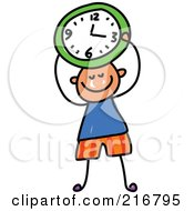 Royalty Free RF Clipart Illustration Of A Childs Sketch Of A Boy Holding A Green Clock by Prawny