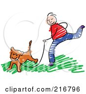 Childs Sketch Of A Boy Jogging With A Dog