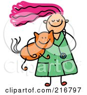Royalty Free RF Clipart Illustration Of A Childs Sketch Of A Veterinarian Girl Carrying A Cat by Prawny
