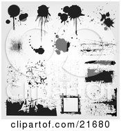 Clipart Picture Illustration Of A Collection Of Various Sorts Of Artistic Paint Splatters And Spray Spots