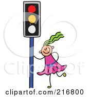 Royalty Free RF Clipart Illustration Of A Childs Sketch Of A Girl By A Traffic Light