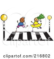 Royalty Free RF Clipart Illustration Of A Childs Sketch Of A Boy And Girl Running Over A Crosswalk