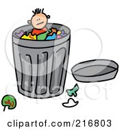 Royalty Free RF Clipart Illustration Of A Childs Sketch Of A Boy In A Trash Can