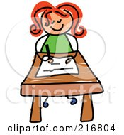 Royalty Free RF Clipart Illustration Of A Childs Sketch Of A Girl Writing At Her Desk by Prawny