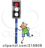 Royalty Free RF Clipart Illustration Of A Childs Sketch Of A Boy By A Red Traffic Light by Prawny