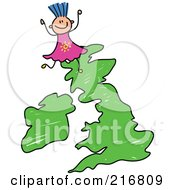 Royalty Free RF Clipart Illustration Of A Childs Sketch Of A Girl On A Uk Map by Prawny