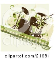 Musical Clipart Picture Illustration Of A Grunge Drum Set Over A Beige Background With Green Lines And Vines by OnFocusMedia
