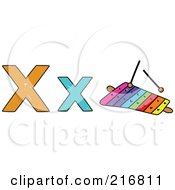 Royalty Free RF Clipart Illustration Of A Childs Sketch Of A Lowercase And Capital Letter X With A Xylophone