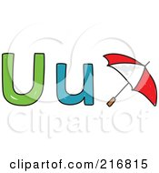 Royalty Free RF Clipart Illustration Of A Childs Sketch Of A Lowercase And Capital Letter U With A Umbrella