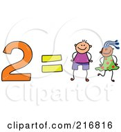 Royalty Free RF Clipart Illustration Of A Childs Sketch Of 2 Equals Two Kids by Prawny