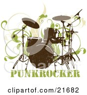 Musical Clipart Picture Illustration Of A Silk Screened Drumset Over Green Vines On A White Background by OnFocusMedia