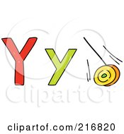 Royalty Free RF Clipart Illustration Of A Childs Sketch Of A Lowercase And Capital Letter Y With A Yo Yo
