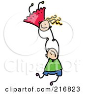 Childs Sketch Of Two Kids Holding Hands While Falling 3