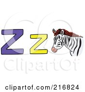 Royalty Free RF Clipart Illustration Of A Childs Sketch Of A Lowercase And Capital Letter Z With A Zebra by Prawny